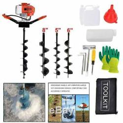 52CC Post Hole Digger Gas Powered Earth Auger Borer Fence Ground+3 Drill Bits