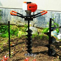 52CC Post Hole Digger Gas Powered Earth Auger Borer Fence Ground Drill 3 Bit US