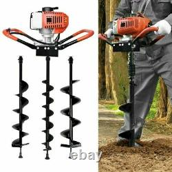 52CC Post Hole Digger Gas Powered Earth Auger Borer Fence Ground Drill+3 Bit WF