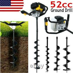52CC Post Hole Digger Gas Powered Earth Auger Borer Fence Ground Drill + 3 Bits