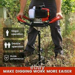 52CC Post Hole Digger Gas Powered Earth Auger Borer Fence Ground Drill +3 Bits