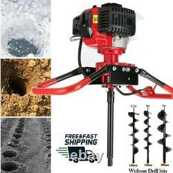 52CC Post Hole Digger Gas Powered Earth Auger Borer Fence Ground Drill Red