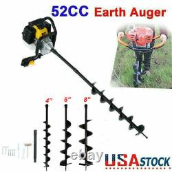 52CC Post Hole Digger Gas Powered Earth Auger Borer Machine With3 Auger Drill Bits