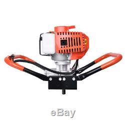 52CC Post Hole Diggers Gas Powered Earth Auger Borer Fence Ground + 3 Drill Bits
