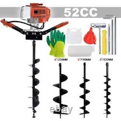 52CC Post Hole Diggers Gas Powered Earth Auger Borer Ground with 3 Drill Bits US