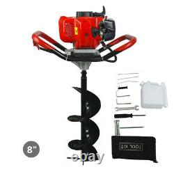 52cc 2.2HP Gas Powered Engine Earth Auger Hole Post Hole Digger+8 Auger Bit