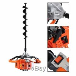 52cc 2.3HP Powered Gas Post Hole Digger Earth Digger Auger With 8 Bits Drill B2