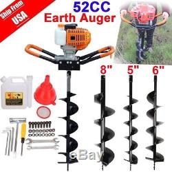 52cc 2.3HP Powered Gas Post Hole Digger Earth Digger Auger With 8 Bits Drill BR