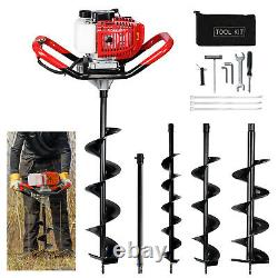 52cc 2.4HP Gas Powered Post Hole Digger with 3 Earth Auger Drill +23.6Extension