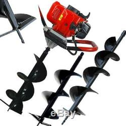 52cc 2.4HP Gas Powered Post Hole Digger with Two Earth Auger Drill Bit 6 & 10