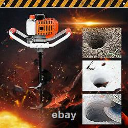 52cc 2.5HP 40-250MM Ground Drill Auger Post Hole Digger Gas Powered Machine Set