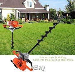 52cc 2.5HP Auger Post Hole Digger Gas Powered Auger Fence Ground Drill+3 Bi CF