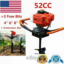52cc 2.5HP Auger Post Hole Digger Gas Powered Auger Fence Ground Drill + 3 Bits