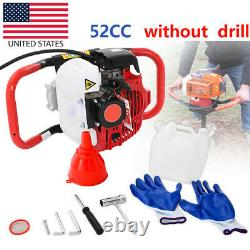 52cc 2.5HP Auger Post Hole Digger Gas Powered Earth Auger Drill Bits
