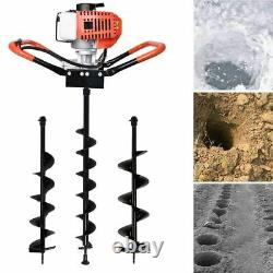 52cc 2-Stroke Gas Power Earth Auger Power Engine Post Hole Digger Machine&3 Bits