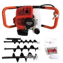 52cc 2-Stroke Gas Powered Earth Auger Post Hole Digger+4 6 8 Bit Kit 2.3HP US