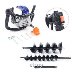 52cc 2 Stroke Post Hole Digger Gas Powered Earth Auger Power Engine with 2 Bits