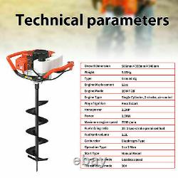 52cc 2 Stroke Post Hole Digger Petrol Gas Powered Earth Auger Power Engine Head