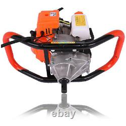 52cc 2 Stroke Powered Engine Post Hole Digger 2.5hp Gas Powered Earth Auger USA