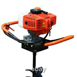 52cc 2-stroke Gas Powered Post Hole Digger Earth & 4 6 8 Auger Drill Bits