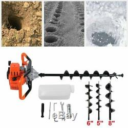 52cc Digger Auger Post Hole Gas Auger Ground Fence Powered Drill+3 Bits 2.5HP