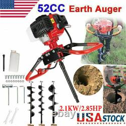 52cc Earth Auger Head Hole Digger Gasoline Gas Powered Fence 3Bits Air cooling