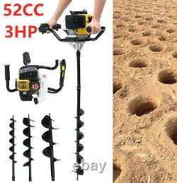 52cc Electric Earth Auger 3HP Post Hole Digger Gas Powered Earth Soil Drill ZO