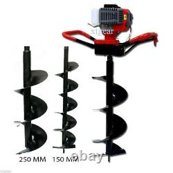 52cc GAS POWER EARTH ONE MAN POST FENCE ICE HOLE DIGGER With3 DRILL BITS 4 6 10
