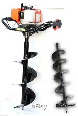 52cc Gas Power One Man Post Hole Digger Earth Driller with 2 Bit 10 & 8 Bits