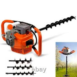 52cc Gas Powered Earth Auger Engine Post Hole Digger + 12 Bar + 4 6 8 Bits