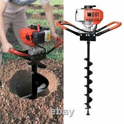 52cc Gas Powered Earth Auger Power Engine Post Hole Digger + 3Drills Bit Ground