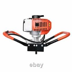 52cc Gas Powered Earth Auger Power Engine Post Hole Digger + 3 Drill Bit Ground