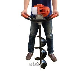 52cc Gas Powered Earth Auger Power Engine Post Hole Digger + 8 Drill Bit Ground