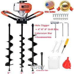 52cc Gas Powered Earth Drill Power Engine Post Hole Digger+4 6 8 Auger Bit US