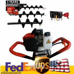 52cc Gas Powered Post Hole Digger Earth Auger Digging & Planting Machine +3 Bits