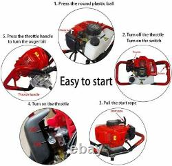 52cc Gas Powered Post Hole Digger with 3 Drills 4 & 6 & 10 and Extension Rod