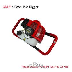 52cc Post Hole Digger 2.2HP Gas Powered With6 Power Engine Auger Bits Digging Set