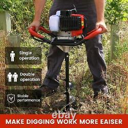 52cc Power Engine 2.5HP Gas Powered Post Hole Digger 6 + 10 Auger Bits