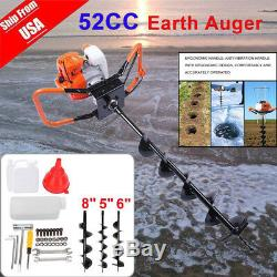 52cc Powered Gas Post Hole Digger Earth Digger Auger 3 Bits for Drilling Ice Dig