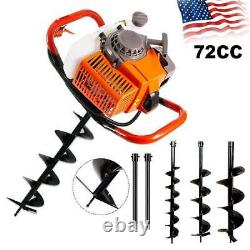 62CC/72CC 2-Stroke Gas Powered Post Hole Digger Auger Borer Fence Drill+ Bits