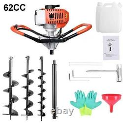 62CC Gas Powered Earth Drill Power Engine Post Hole Digger with3 Auger Drill Bits