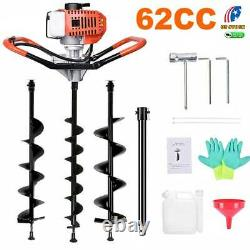 62CC Post Hole Digger Gas Powered Earth Auger Borer Machine /3 Auger Drill Bits