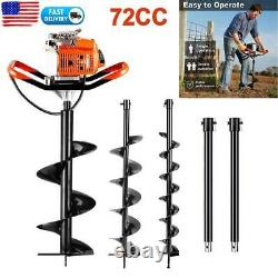 62/72CC Post Hole Digger Gas Powered Earth Auger Borer Fence Ground Drill+3 Bit