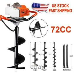 62/72CC Post Hole Digger Gas Powered Earth Auger Borer Fence Ground Drill withBits
