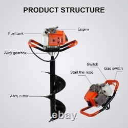 63CC Earth Auger 2-Stroke Gas Powered One Man Post Hole Digger Machine or 4 Bits