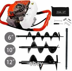 63CC Gas Powered Post Hole Digger With 6 10 12 Earth Auger Digging Engine Kit