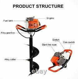 63CC Gas Powered Post Hole Digger with 2-Stroke Earth Auger Drill Bit 6 10 12