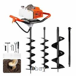 63cc Gas Powered Earth Auger Post Hole Digger with 2 Drill + Ext. For Earth Ice