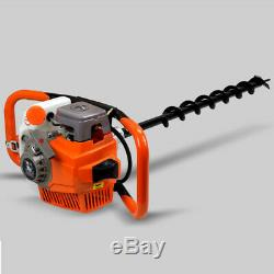 71CC Earth Auger Gas Powered Post Hole Digger Fence Borer+3 Drills 4 6 8 Bits