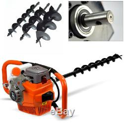 71CC Gas Powered Post Hole Digger Auger +12 Extension Bar +4, 6 & 8 Bits